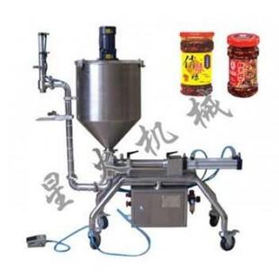 北京豆瓣酱灌装机_辣椒酱灌装机,专业大颗粒酱料设备