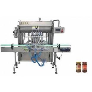 大颗粒黄豆酱灌装机选星火:6头搅拌豆瓣酱灌装机